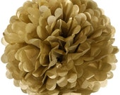 2 x 15cm (6 in) GOLD Tissue Paper POM POM / Pompom / Paper Flower / Birthday Party Decoration Ideas & Supplies / Wedding / Baby Shower