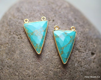 Natural Turquoise Bezel Charm Triangle Shape with Two Bails 29mm, Gold Plated, December Birthstone, Turquoise pendant, Turquoise Jewelry