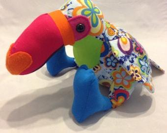 Rainbow themed stuffed toucan/parrot/stuffed bird