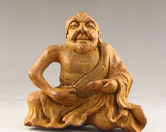 N3224 Chinese Bamboo Root Carved Buddhism Arhat Statue