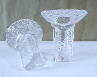 Pair of 1984 Winter Olympics Torch Candle Holders - Orrefors, Sweden