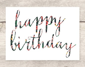 BEST SELLER! Floral Lettered Happy Birthday greeting card