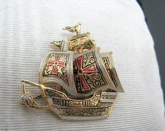 Vintage Gold Filled Viking ship Brooch with the Maltese Cross on each Sail