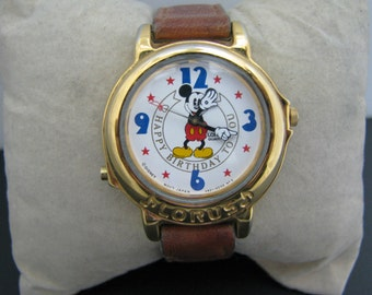 Vintage - Quartz Lorus Musical Mickey Mouse Watch Playing Happy Birthday