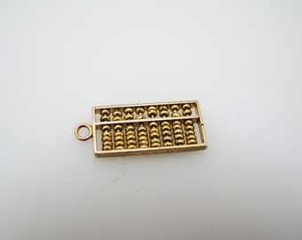 Cute 10k Yellow Gold Abacus Charm or Pendant with Moveable Beads
