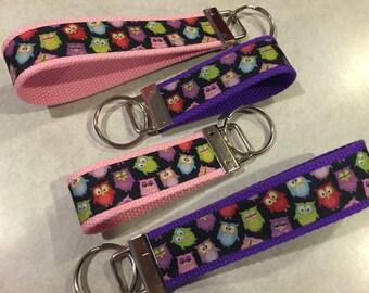 Owl Wristlet and Mini Keychain/Key Fob