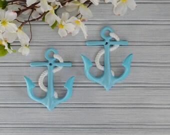 Set of Two Anchor Hooks. Anchor Hook. Anchor Decor. Nautical Decor. Beach Decor. Coastal Decor. Wall Hook. Towel Hook. Bathroom Decor