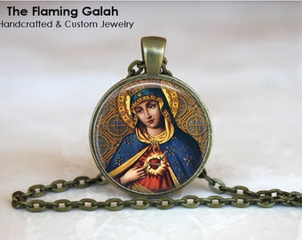 SACRED HEART Pendant • Sacre Coeur • Flaming Heart • Jesus Christ • Gift Under 20 • Made in Australia (P1171)