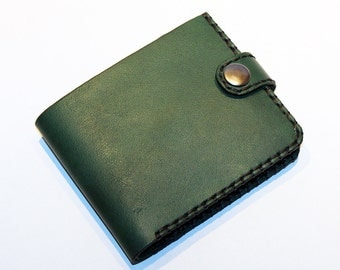 Leather wallet,green wallet, great leather item, green men's wallet, credit card wallet, gift for men.
