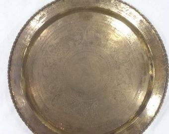"""Large Vinatge Asian solid brass platter plate with animal scenes etched engraved made in Hong Kong 30"""""""