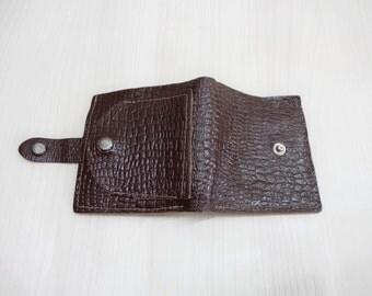 Vintage Leather Wallet, Dark brown Leather Wallet, Brown embossed Wallet, Tooled Leather Wallet