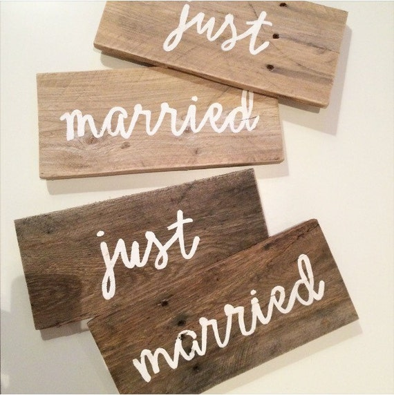 Just married his and hers wedding sign wedding decor for Just married dekoration