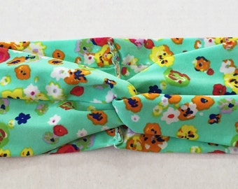 Mint Floral turban headband