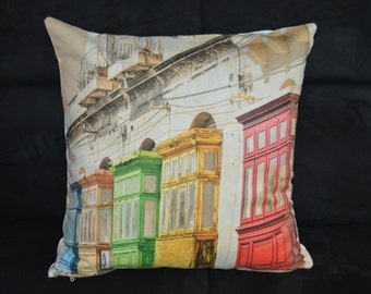 colorful homes pillow cover