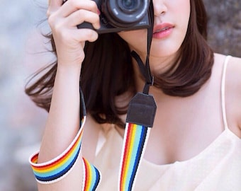 Rainbow DSLR camera strap,Rainbow Camera Strap, leather camera Strap ,
