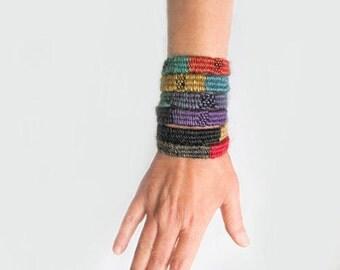 Colorful boho bracelet, woven wrap fiber bracelet for women, handwoven yarn bracelet, bohemian fiberjewelry, gifts for best friends under 20