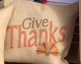 Give Thanks Burlap Pillow Cover