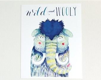 Wooly Mammoth Nursery Art, Wooly Mammoth Art, Wooly Mammoth Illustration, Wooly Mammoth Wall Art, Wooly Mammoth Nursery, Wild One, Wild