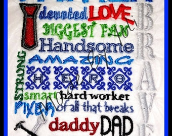 Embroidery Design Digitized Father Day Subway Art 5 x 7