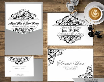 Black and Silver Invitation Set Templates, Invitation Suite, Save the Date, Thank You Card, RSVP, Baptismal Invitation, Save the Date