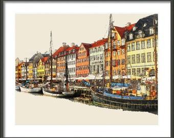 Copenhagen - Copenhagen Boats Denmark - Watercolor - Waterfront Art Print - Multiple Sizes