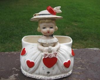 Valentine Girl Vintage Planter On Hold for Diane
