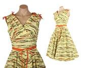 Vintage 50s Tiger Striped Party Dress Full Skirt Sleeveless Shelf Bust 1950s Medium M