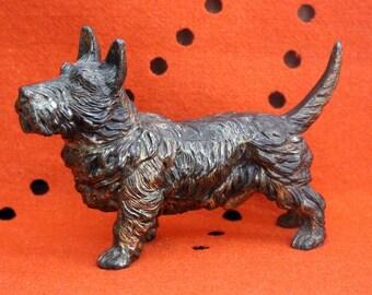 Vintage Scotty Scottie Scottish Terrier Metal Sculpture Art Deco Dog