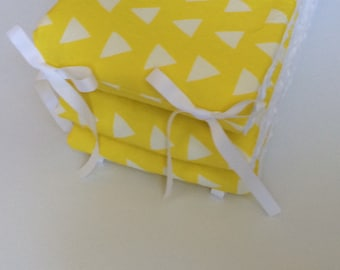 Crib Bumper ~ Yellow Triangles with White Minky
