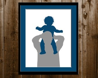 Father's Day gift, Custom 2 Color Daddy and Child Silhouette Portrait, Daddy Daughter Gift, Silhouette Art Print, Custom Silhouette Portrait
