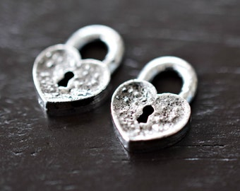 Antique Silver Heart Shaped Locks, 2pcs