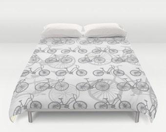 Bikes Duvet Cover - Grey Bikes Duvet Cover - Bicycle Duvet Cover - Full Queen King Size Duvet Cover - Bike Bedding - Modern Decor