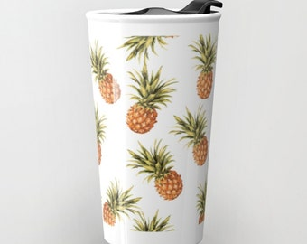 Pineapple Travel Mug - Tropical Pineapples Travel Mug - Coffee Mug - Ceramic Travel Mug With Lid - Girlfriend Gift - Boyfriend Gift