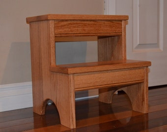 step stool solid oak hardwood perfect for kids bathroom kitchen