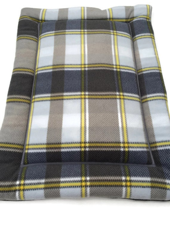 Plaid Dog Bed, Cat Bedding, Travel Pet Bed, Yellow Grey Decor, Dog Crate Pad, Plaid Fabric, Kennel Cover, Puppy Crate Bed, Cat Couch Pad