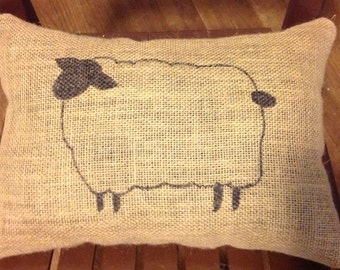 Sheep Burlap Pillow