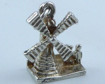 Silver bracelet charm - Windmill