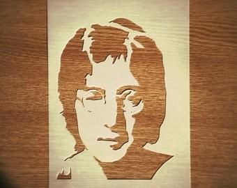 John Lennon STENCIL for home wall interior decor / the Beatles singer stencil