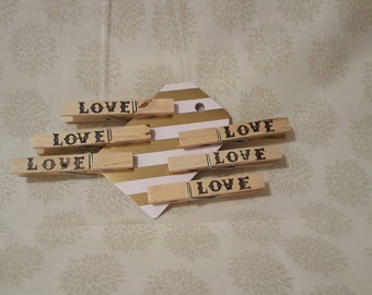 6 Hand Stamped Love Clothes Pins
