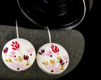 Red flower earrings, white flower, white earrings, pink, colorful, embroidered earrings, polymer clay, romantic gift for her