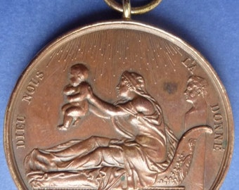 Original Old French Historical Medal - Struck in 1820 To Commemorate The Birth of Henry V.