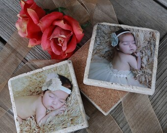 60 Personalized Photo Coasters. Travertine Stone. Custom Coaster. Beautiful Drink Coasters. Great Gift Idea. Special Quantity for Party.