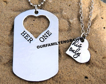 Her one His only I love you hand stamped pendant necklace set