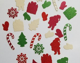 Christmas Holiday Glitter Die Cut Outs ( Embellishments, Holiday Decoration, Christmas Card Decor )