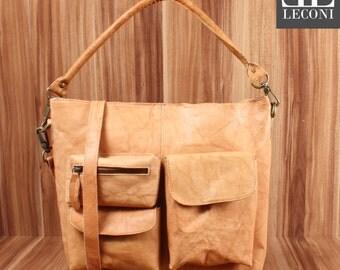 LECONI shoulder bag shoulder bag leather bag lady bag vintage leather cognac LE0039 antique