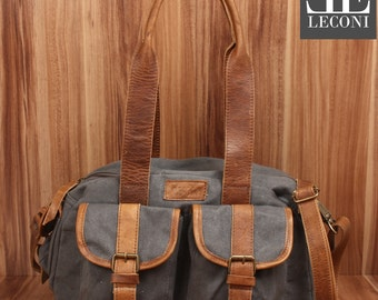 LECONI-LAN bag shoulder bag lady bag bag natural of canvas leather grey LE0042-C