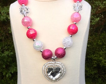 Chunky Necklace, Hot Pink Chunky Necklace For Girls, Hot Pink Heart, Bubble Gum Necklace, Birthday Gift. Toggle Clasp