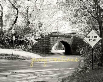 One Lane Road and Bridge, Landscape Photo | Print or Canvas