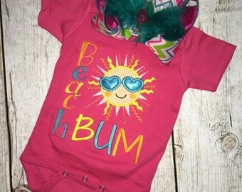 Beach Bum Onesie, Monogrammed Onesie, Baby Girl Outfit, Baby Shower, Colorful, Sizes NB-6 Months