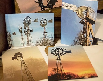Set of 5 Windmill photo notecards